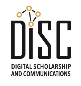 Digital Scholarship and Communications text logo in black and gold
