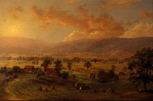 Painting by Jasper Cropsey (American, 1823–1900) titled The Old Homestead, Wyoming Valley, 1865 Oil on canvas 13″ x 18″ Gift of Sam I. and Ellen C. Yarnell 1981.007