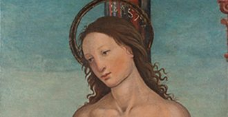 Follower of Domenico Ghirlandaio (possibly, Giovanni Battista Bertucci), St. Sebastian, ca. 1510, Italian (1475–1525), Tempera with oil on panel, 19 5/8 x 16 1/8 inches, The Samuel H. Kress Collection,, Peabody College, Vanderbilt University Fine Arts Gallery, 1979.0655P