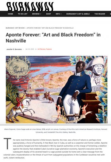 Visionary Aponte Exhibition review in Burnaway: The Voice of Art in the South