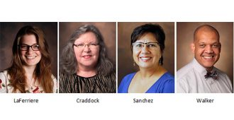 Headshots of Heather LaFerriere, Angel Craddock, Monica Sanchez, and Phillip Walker of the Eskind Biomedical Library