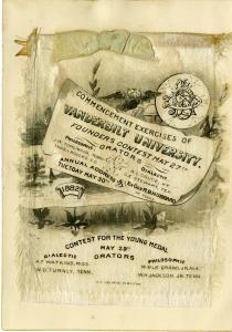 1882 Vanderbilt University commencement announcement printed on silk