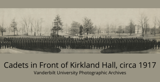Cadets in Front of Kirkland Hall, Circa 1917. panoramic image,from Vanderbilt University Photographic Archives