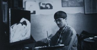 Léonard Tsuguharu Foujita photographed in his art studio by Jean Agélou