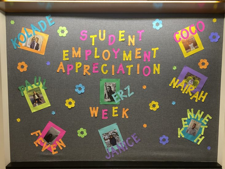 Bulletin board with pictures and names of the Science & Engineering Library Student Workers to celebrate Student Employment Appreciation Week