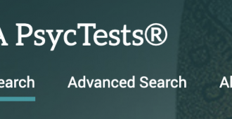Logo that says APA PsycTests with the phrases Basic Search, Advanced Search, and About underneath